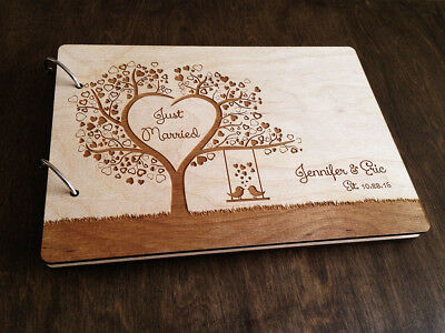 Wood Wedding Guest Book Tree Heart Personalized Guestbook Bridal Shower Gift A4