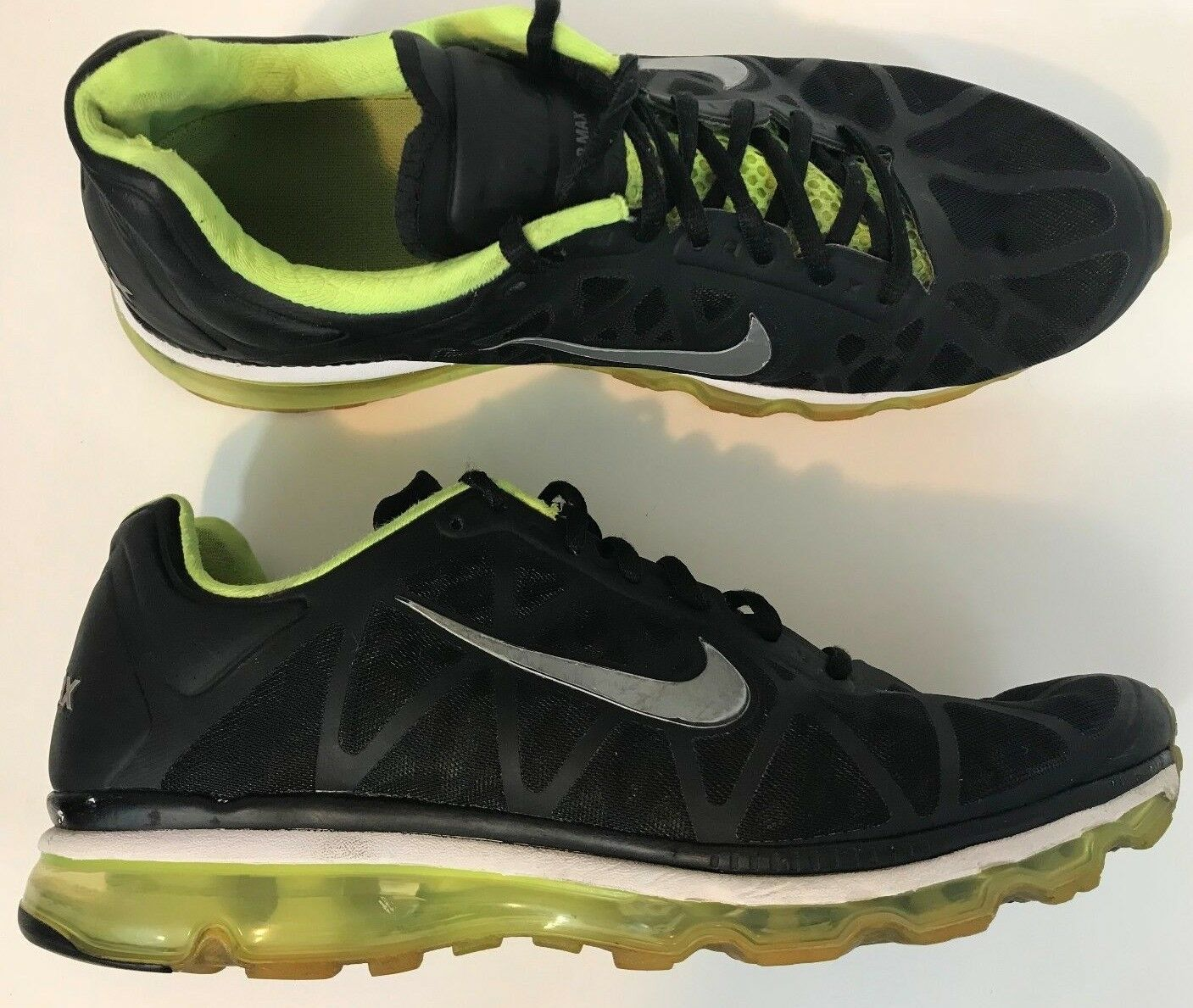 Nike Air Max 2011 Mens Running shoes Size 11.5 Black Volt Neon Green