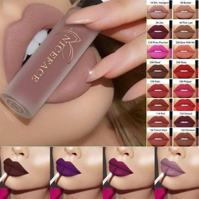 Women Waterproof Liquid Lipstick Matte Lip Gloss Long Lasting Makeup Cosmetics