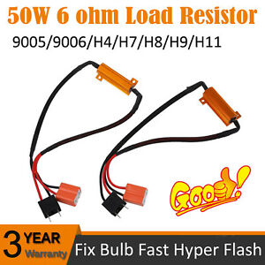 H7 LED DRL Fog Light Canbus 50W 6Ohm Load Resistor Wiring Canceller Decoder