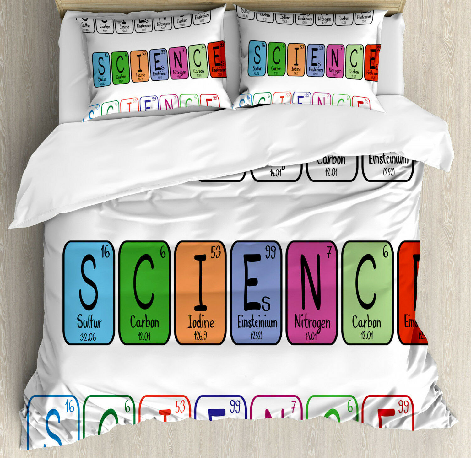 Periodic Table Duvet Cover Set with Pillow Shams Science Letters Print