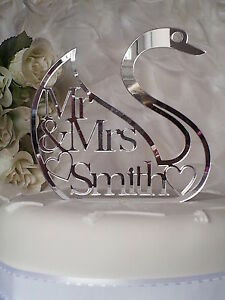 WEDDING-CAKE-TOPPER-swan-design-personalised-mr-amp-mrs-surname-acrylic-mirror