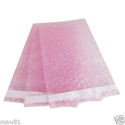 50 10X15.5 Anti-Static Pink BUBBLE OUT POUCHES BUBBBLE WRAP BAGS