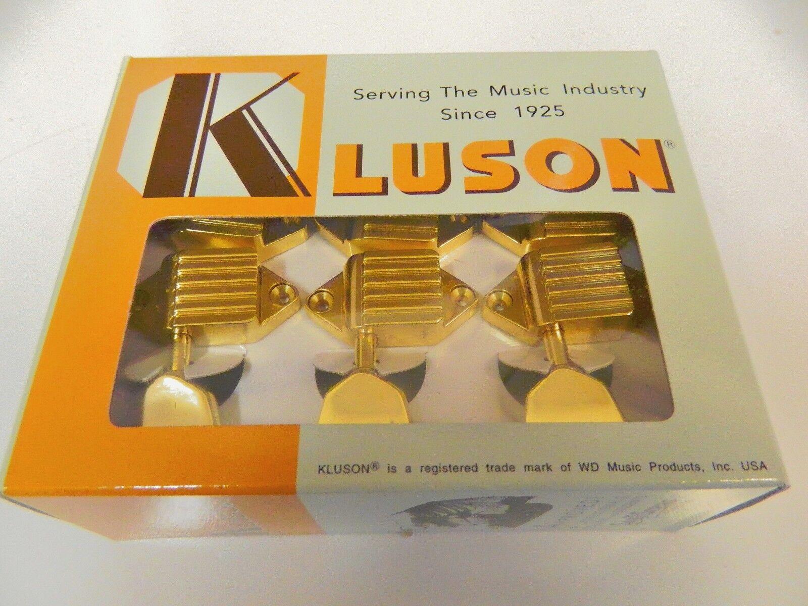 KLUSON KVDW-3-GM WAFFLEBACK 3+3 TUNERS W  METAL KEYSTONE BUTTONS Gold
