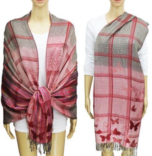 Tie Dye Butterfly Striped Plaid Pink Gray Red Blue Purple Scarf Pashmina Long