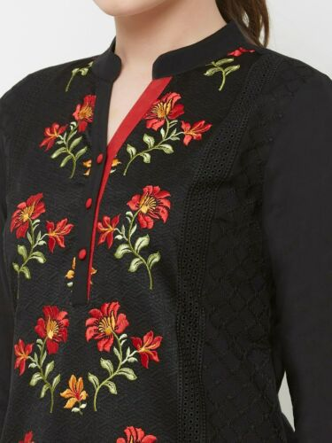 Details about  /Women Black /& Red Foral Embroidered Straight Pure Cotton Kurta KU-CL-4859-BK