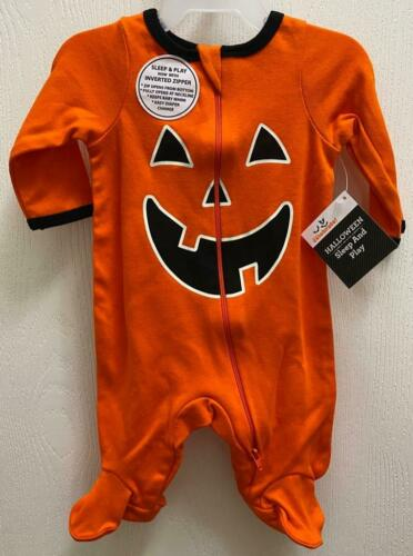Pajamas Orange 1 pc w//Feet NWT 6-9 mo Halloween Pumpkin Baby Boy Girl NewBorn