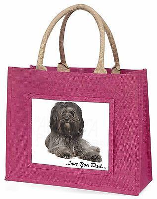 Tibet Terrier Hund 'Liebe dich Papa' Große Rosa Einkaufstasche Weihnachten,