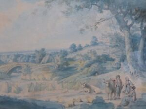 WATERCOLOUR-ENGLISH-LANDSCAPE-AFTER-GEORGE-MOORLAND-1760-FREE-SHIPPING-ENGLAND