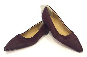 New Womens UGG Italian Collection Linda Wine Calf Hair Leather Ballet Flat