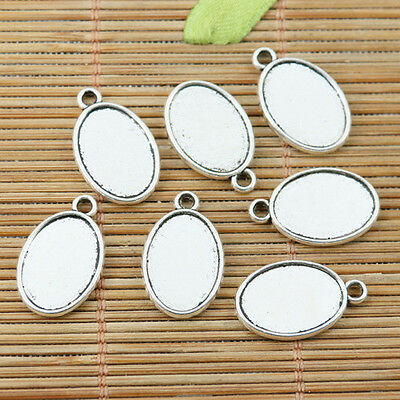16pcs tibetan silver color 2sided oval cameo cabochon settings EF2362