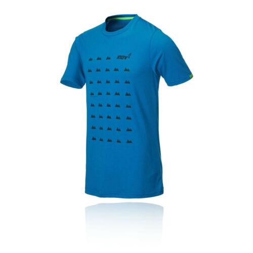 Inov 8 Homme Tri Blend manches courtes T Shirt Tee Top-Blue Sports Running