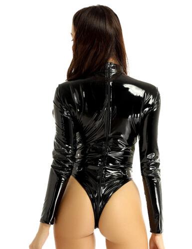 Silky Satin Womens Bodysuit Lingerie Leotard Top Square Neck Crop Tops Blouse