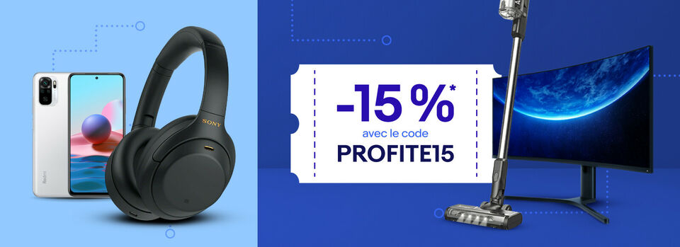 Code PROFITE15 - - 15 %* pour vous faire plaisir !