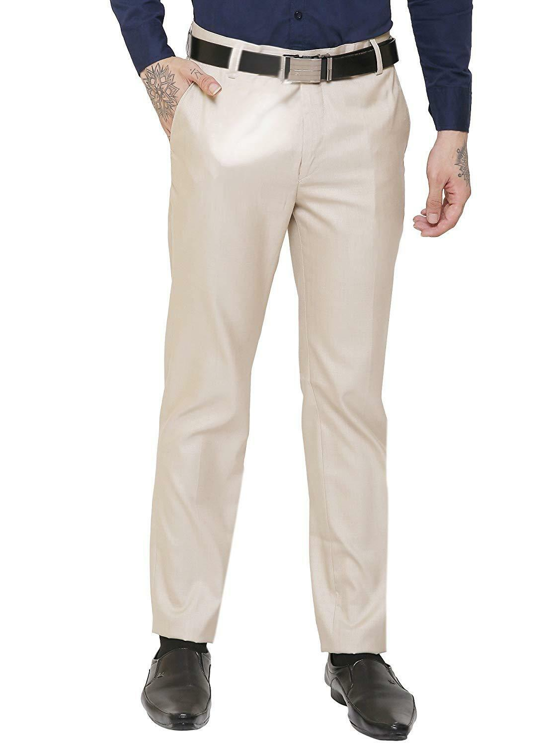 Men Regular Fit Dress Mens Stylish Straight Pants Business Elegant Shiny Trouser