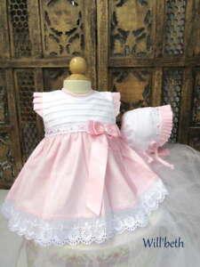 Will'beth Stunning Newborn Baby Girl Dress Bonnet Set Bow Lace NWT Babies Dolls