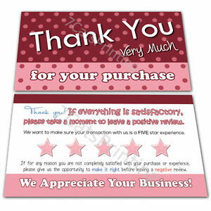 100 Pink Thank You Cards for Poshmark, eBay or etsy Sellers Purchase Order Notes