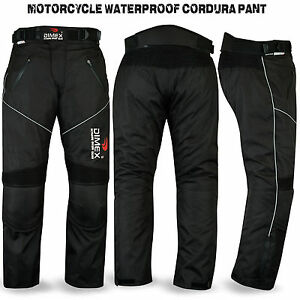 Motorbike-Motorcycle-Waterproof-Cordura-Textile-Trousers-Pants-Armours-BLACK