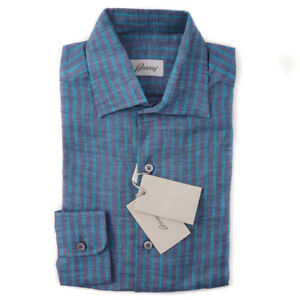 NWT-575-BRIONI-Navy-and-Teal-Blue-Striped-Extrafine-Linen-Dress-Shirt-L