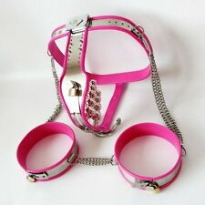Full Female Chastity Belt/Device with thigh cuffs and extras PINK 65 - 90 cms