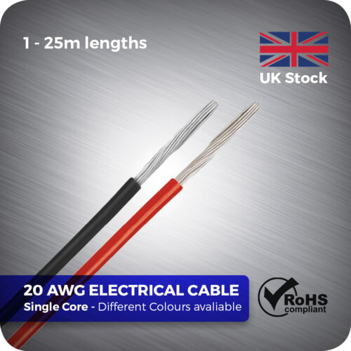 1 - 25 Metre 20 AWG Flexible Single Core Electrical Stranded Wire ...
