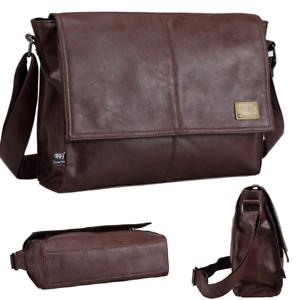 Sling-Shoulder-messenger-bag-Leather-Men-Briefcase-14-inch-laptop-case