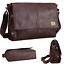 Sling-Shoulder-messenger-bag-Leather-Men-Briefcase-14-inch-laptop-case thumbnail 1