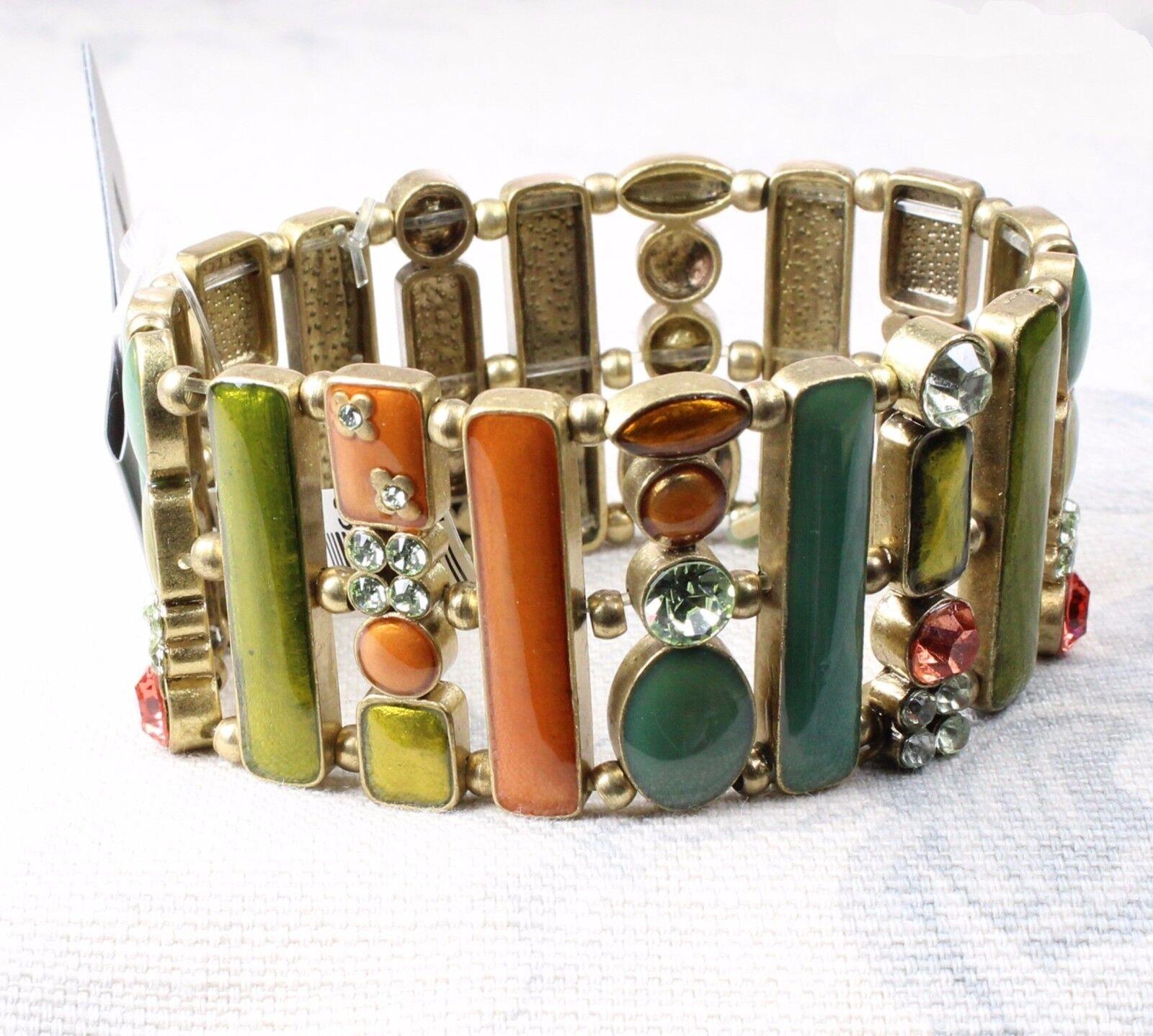 Vintage PILGRIM Wide Bracelet Scandi GEO gold Lime orange Swarovski Enamel BNWT