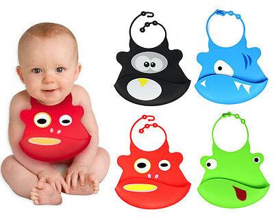 1X Cartoon Skin Baby Bibs Eat Solid Convenience Health Silicone Waterproof Bib