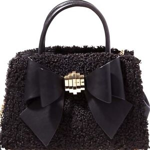 24fccb5279d9 Betsey Johnson NWT  118 Black Fuzzy Removable Big Bow Satchel Hand ...