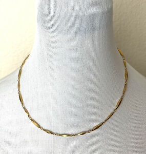 Nikken-Necklace-Gold-Tone-Diamond-Cut-Magnetic-Therapy-Demo-Use-Only