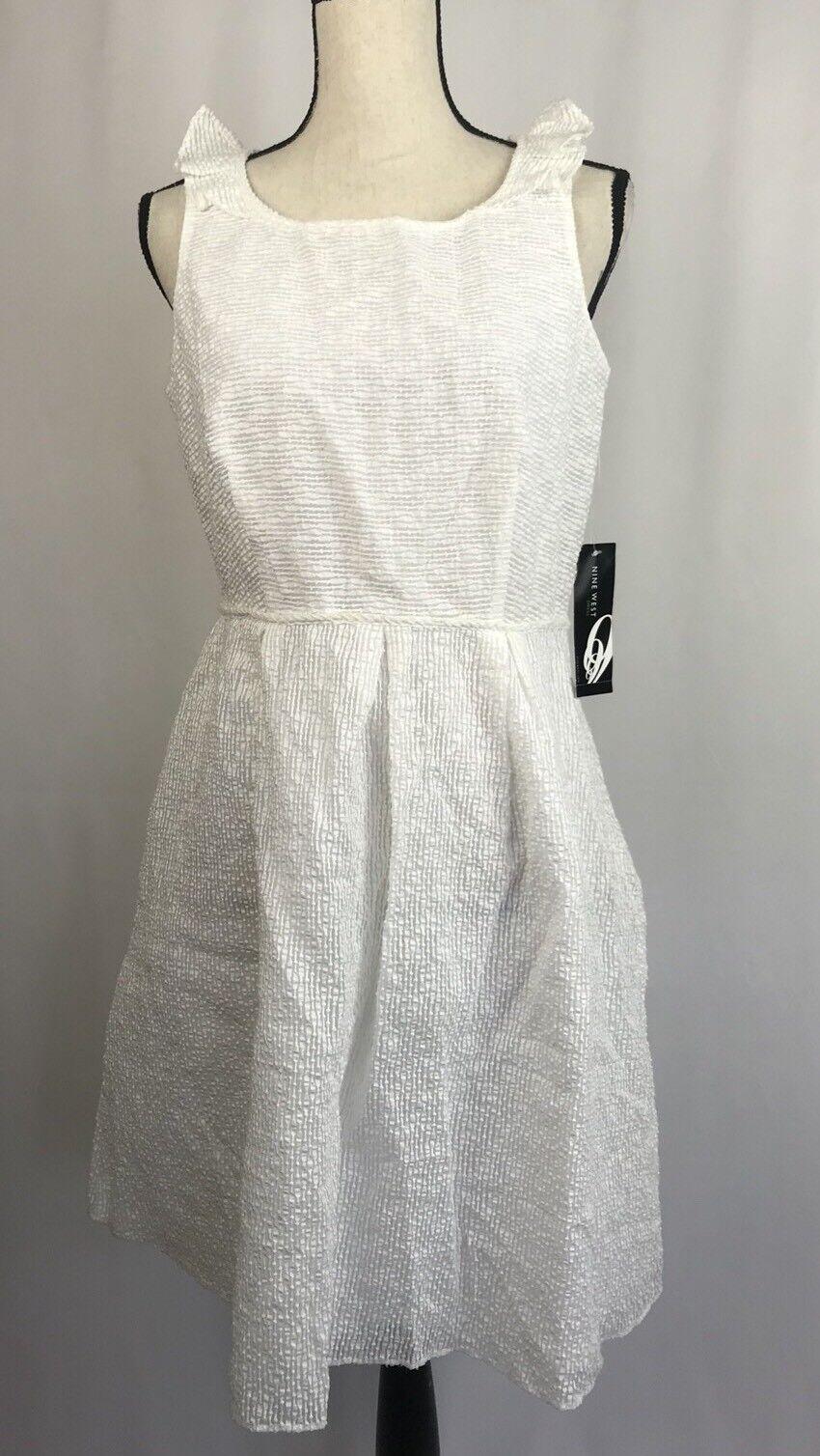 NINE WEST Woherren Dress Weiß Sun Dress Ruffle Größe 8 NWT retail AH