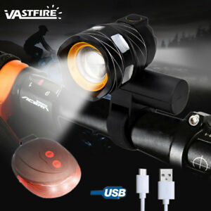 USB-Rechargeable-15000LM-XML-T6-LED-ZOOM-Front-Head-Bike-Bicycle-light-Rear-Lamp
