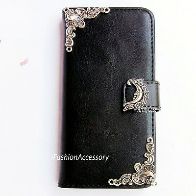 Moon phone wallet Leather flip case Handmade Stand cover For Samsung S6 S7 Edge