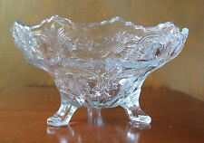 """McKee Rock Crystal Clear 9"""" Scalloped Edge Toe Footed Serving Bowl"""