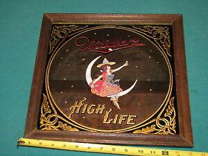 Vintage Miller High Life Beer Bar Pub Sign Mirror Girl