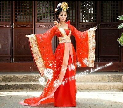 Gorgeous Chinese Traditional Women Dress Dance Costume Trailing Dress Reds