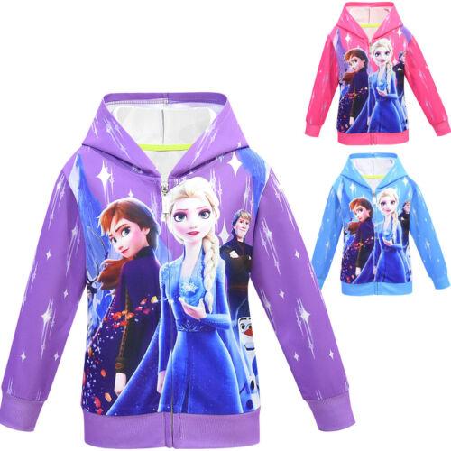 Frozen 2 Kids Girls Hoodie Coat Jacket Cover Up Zipper Hooded Cardigan Age 2-8