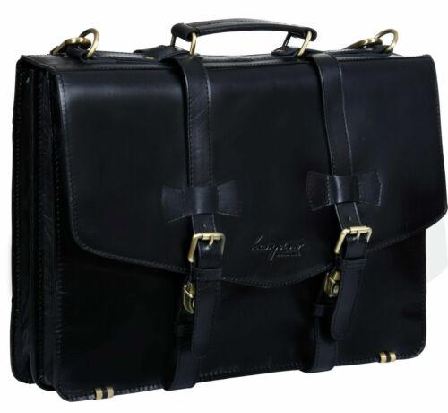 """Men/'s black Leather Shoulder Bag Messenger Briefcase 17/"""" Laptop Business Satchel"""