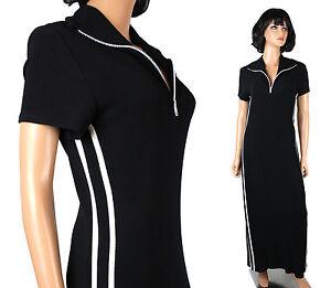 Vintage Disco Dress M L 70s Black White Striped