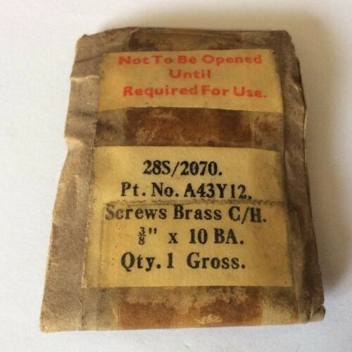 AGS246//48 NOS 10BA Brass Cheese Head Slotted Screw p//n A43//Y12 qty 144 G//1
