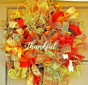 Fall-Welcome-Wreath-Gold-Deco-Mesh-Door-Decor-Metallic-Autumn-Colors-amp-Accents