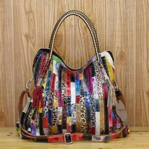 Color-Clash-100-Genuine-Leather-Snake-Ladies-Handbag-Tote-Purse-Shoulder-Bag
