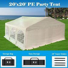 20' x 20' PE Party Tent - Heavy Duty Carport Canopy Car Wedding Shelter - White