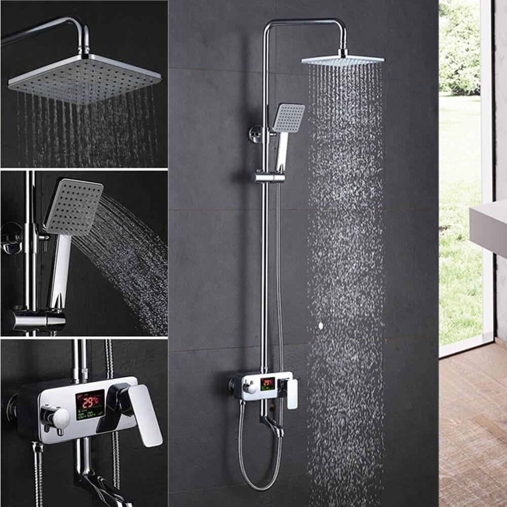 Home Design LCD Regendusche Duscharmatur Bad Handbrause Duschsystem Duschset
