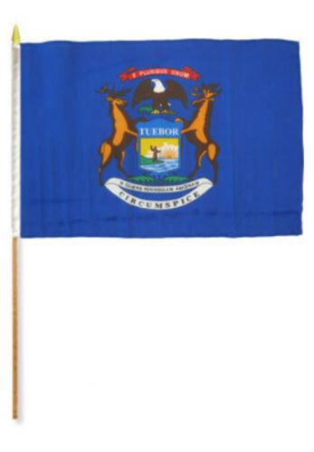 "12x18 12/""x18/"" State of Michigan Stick Flag wood Staff"