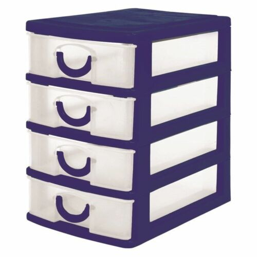STRONG 4 DRAWER MINI STORAGE UNIT FOR MULTI USE HOME OFFICE KITCHEN JEWELRY BOX