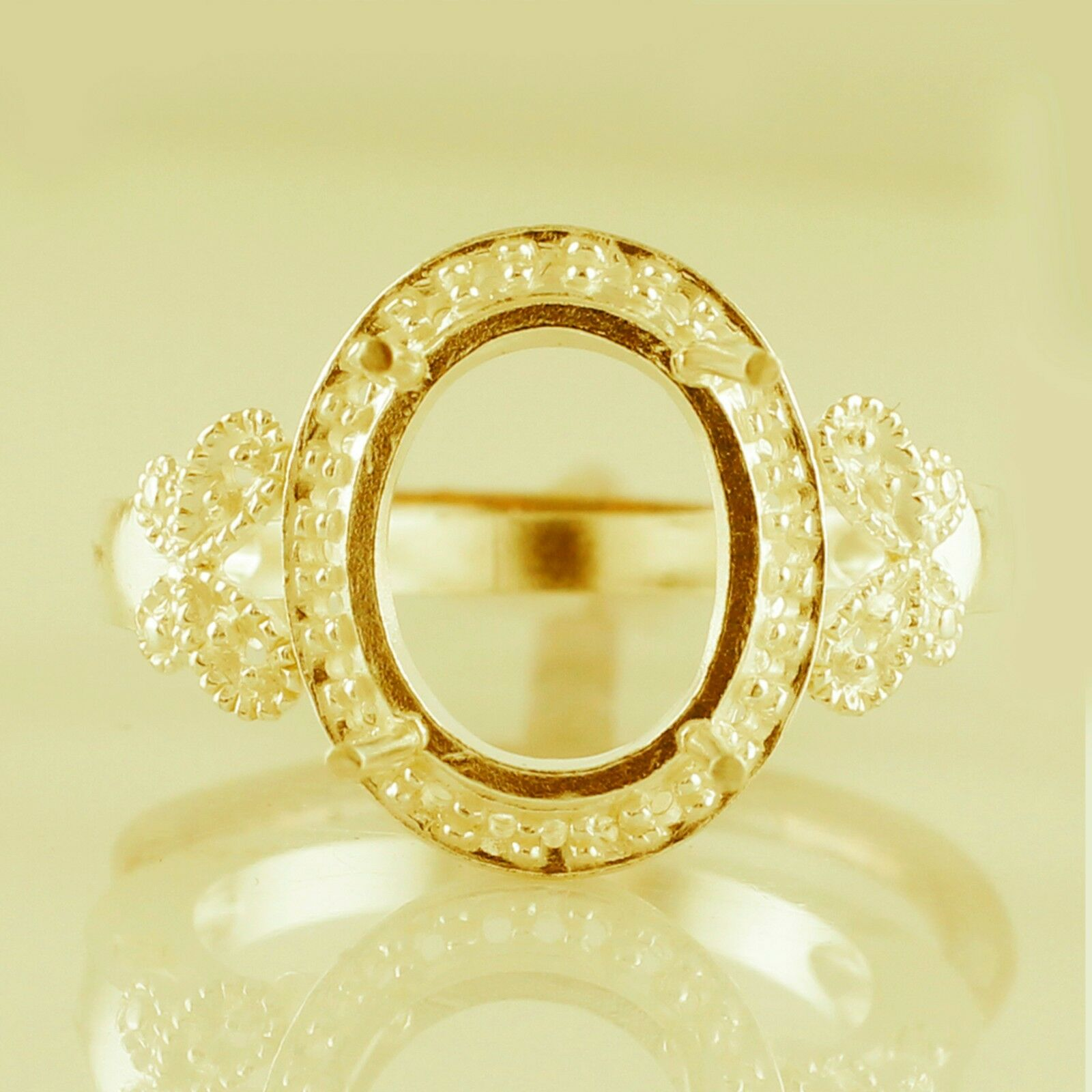 Oval Shape Ring Semi Mount 10x12 MM Natural Authentic gold Natural Top Jewelry