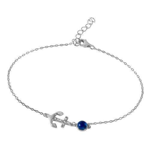 925 Sterling Argent Mauvais Oeil Ancre Bracelet Pour Femmes