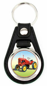 Tractor on the Farm Black Leather Keychain